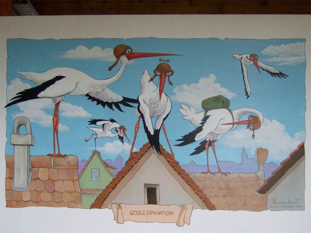 L'École des cigognes aviateurs. Décors à Cigoland. Fresques de Roland Perret  illusions-murales.com