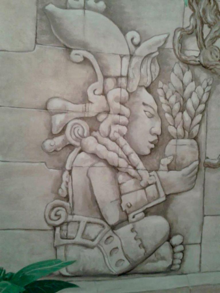 Détail du couloir de la fresque aztèque de la chocolaterie Stoffel à Ribeauvillé. Fresque de Roland Perret. illusions-murales.com