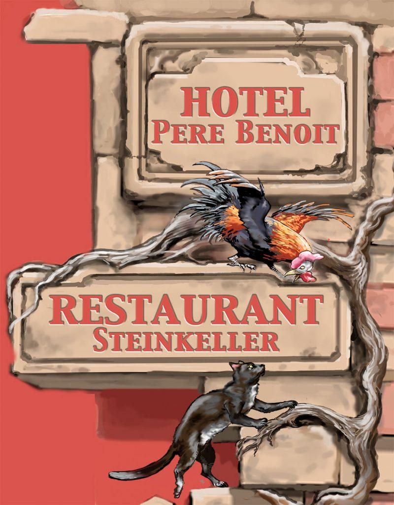 Maquette 2D et 3D pour l'Hôtel Père Benoit, Steinkeller à Entzheim. Fresque de Roland Perret. illusions-murales.com