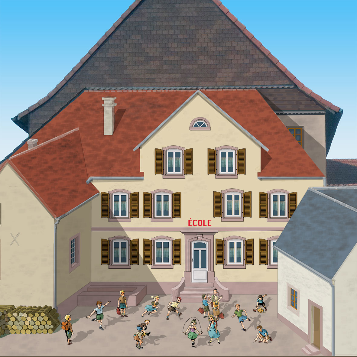 Cour d'école en trompe-l'oeil. Maquette de fresque de Roland Perret. illusions-murales.com