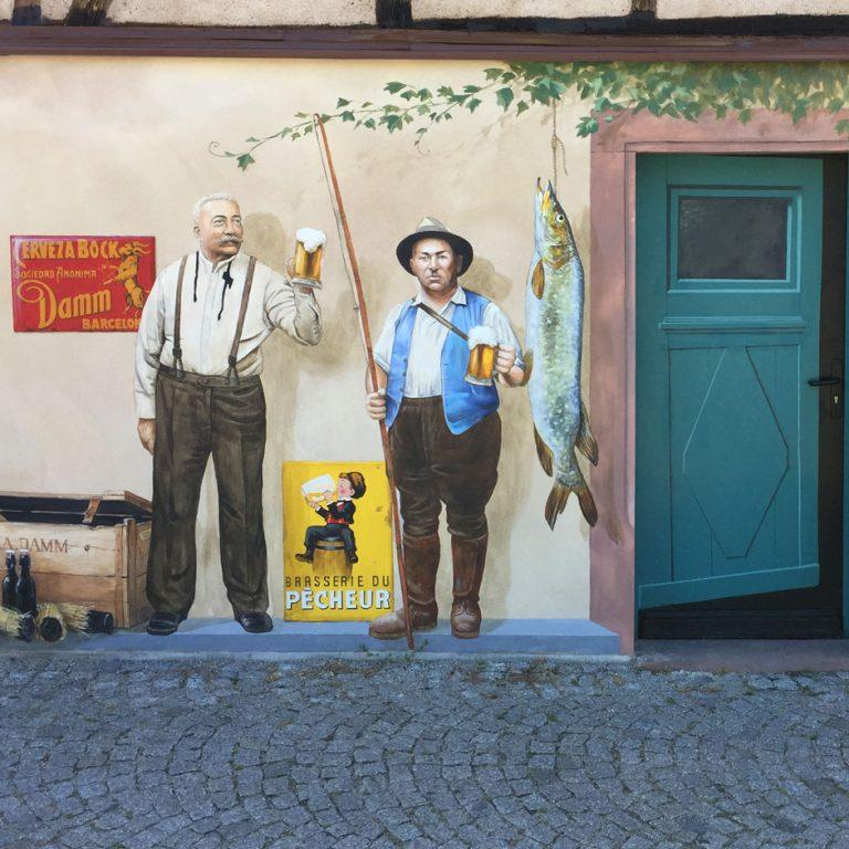 Fresque des brasseurs Pêcheur et Damm à Sélestat par Roland Perret.