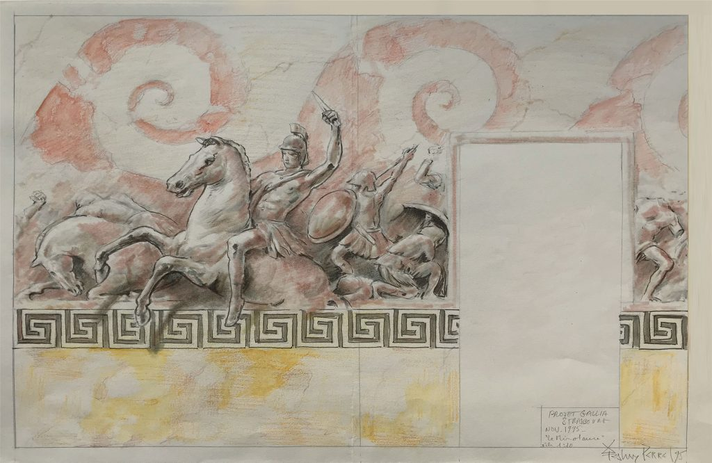 Frise de cavalier du Minotaure pour la cafétéria des étudiants de Strasbourg. Fresque de Roland Perret  illusions-murales.com