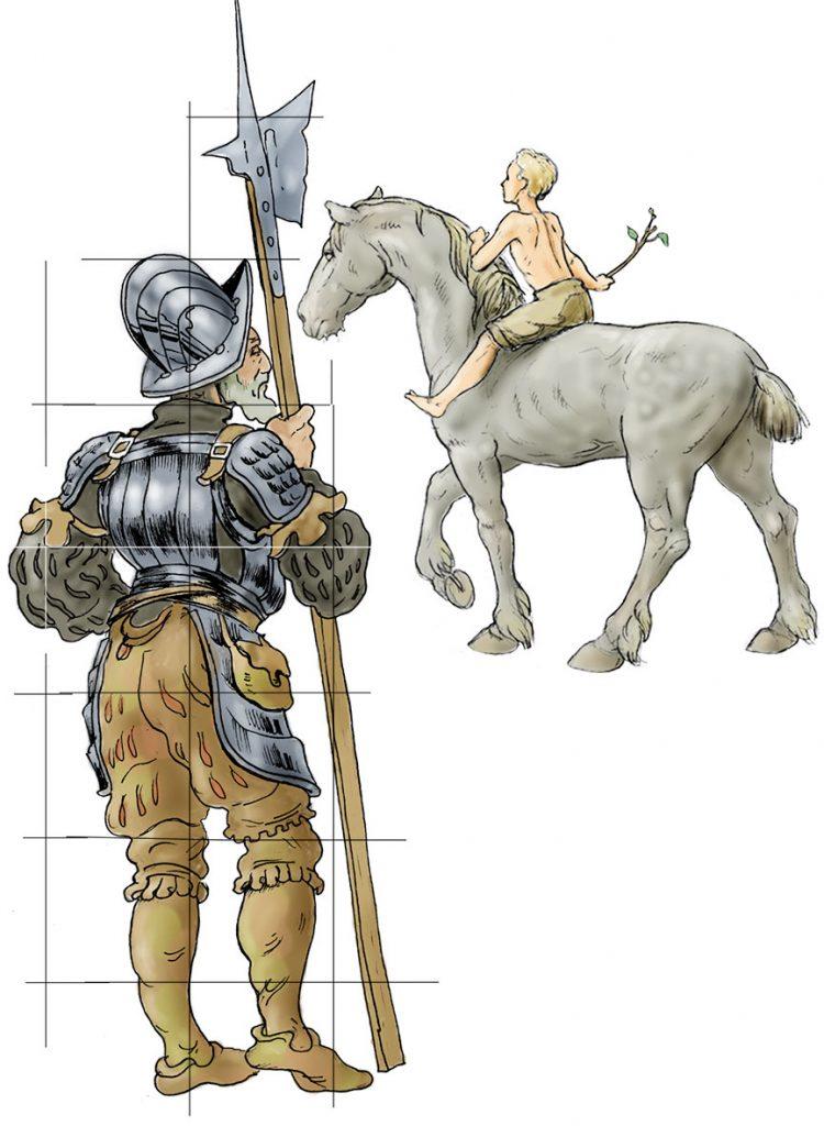 Lansquenet et cavalier. Maquette.Fresque Renaissance à Hochfelden (Alsace). Fresque de Roland Perret. illusions-murales.com