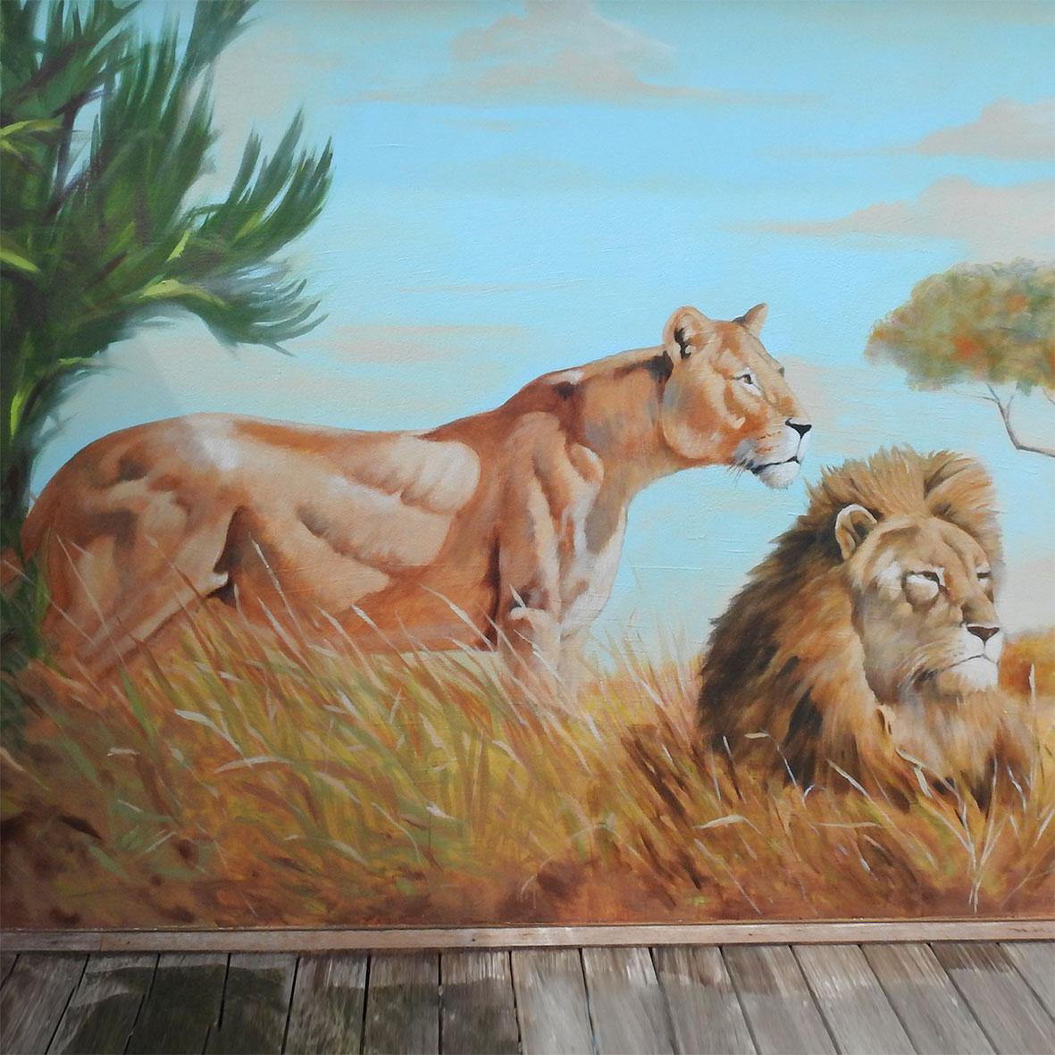Savane. fresque peinte par Roland Perret et Jordane Desjardins. Illusions-murales.com