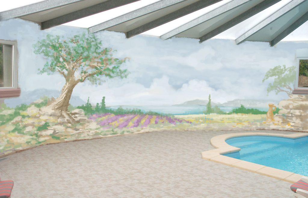 Maquette de fresque pour l'ambiance provençale d'une piscine privée. Fresque de Roland Perret. illusions-murales.com