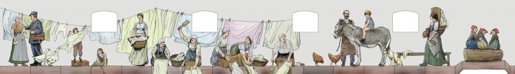 Maquette centrale de la fresque du lavoir du lavoir d'Urmatt par Roland Perret et l'équipe d'illusions murales.