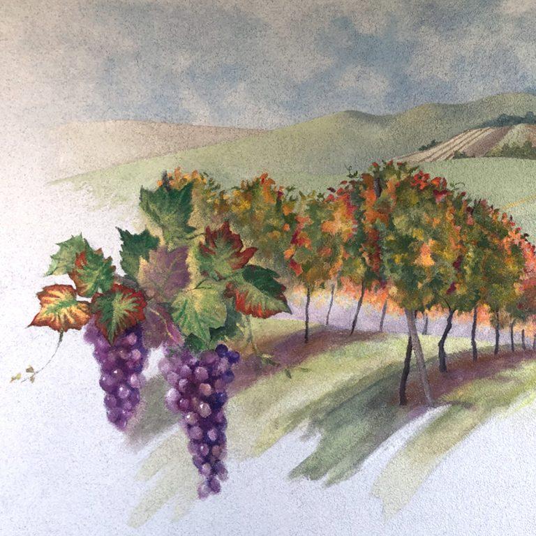 Fresque du vignoble alsacien en automne par Jordane Desjardins