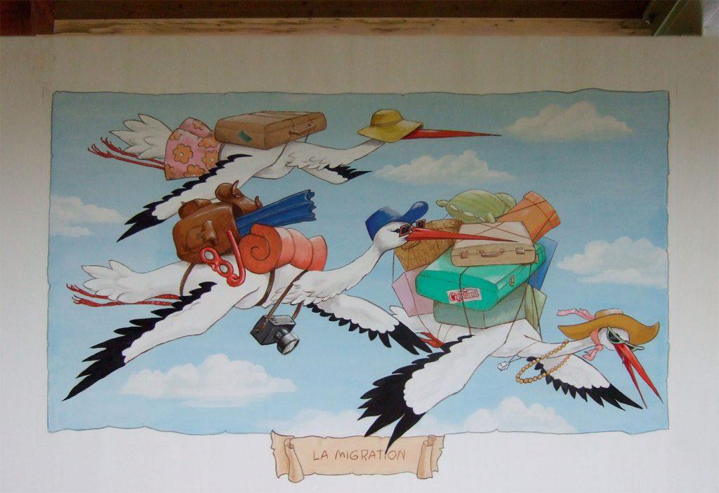 La migration des cigognes. Décors à Cigoland. Fresques de Roland Perret  illusions-murales.com