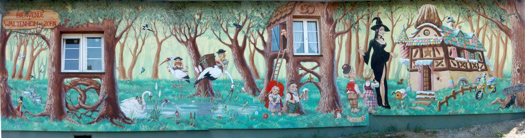 Fresque nalsacienne en bord de canal à Waltenheim sur Zorn, Alsace. Fresque de Roland Perret avec Sourya perret. illusions-murales.com