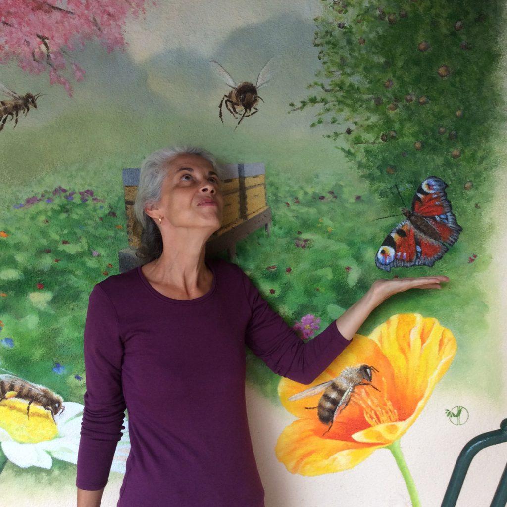 Jardin aux abeilles - Ruches - Fresque de Jordane Desjardins