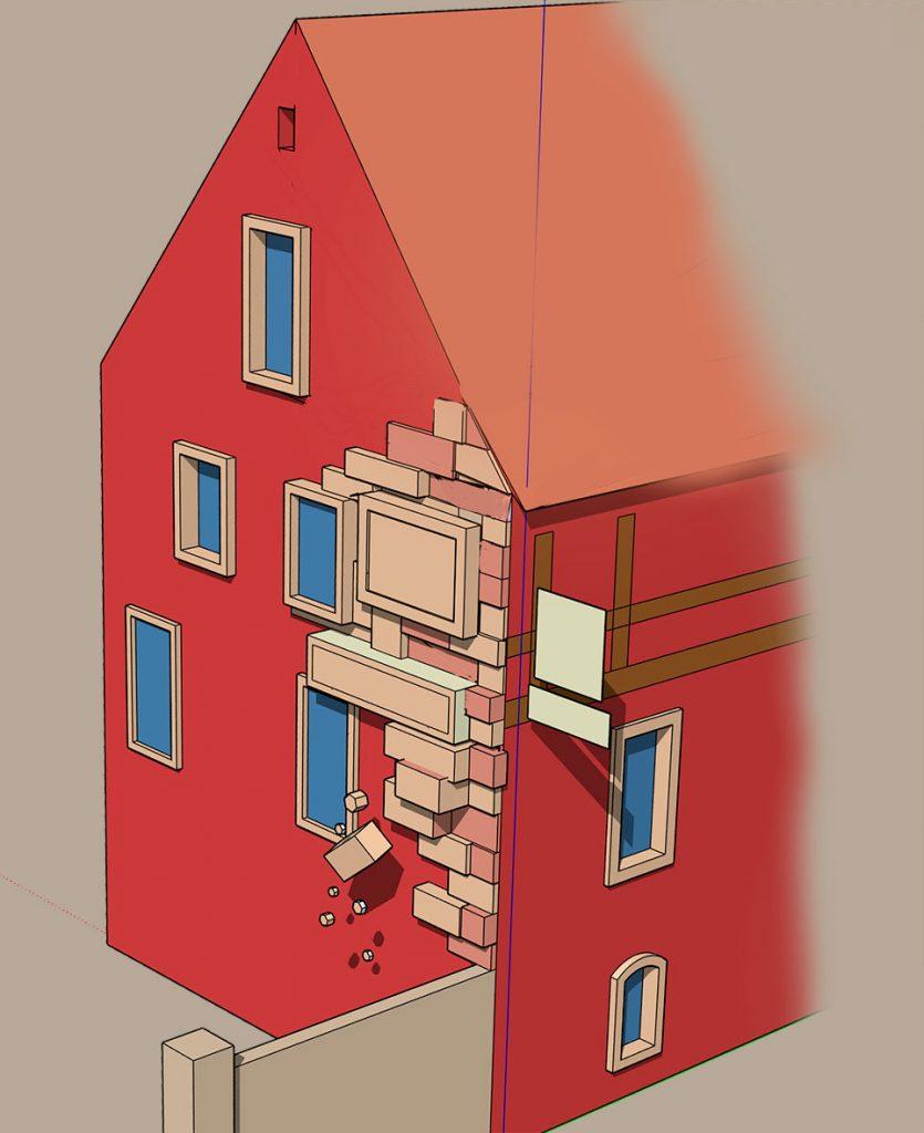 Simulation 3D pour l'Hôtel Père Benoit, Steinkeller à Entzheim. Fresque de Roland Perret. illusions-murales.com